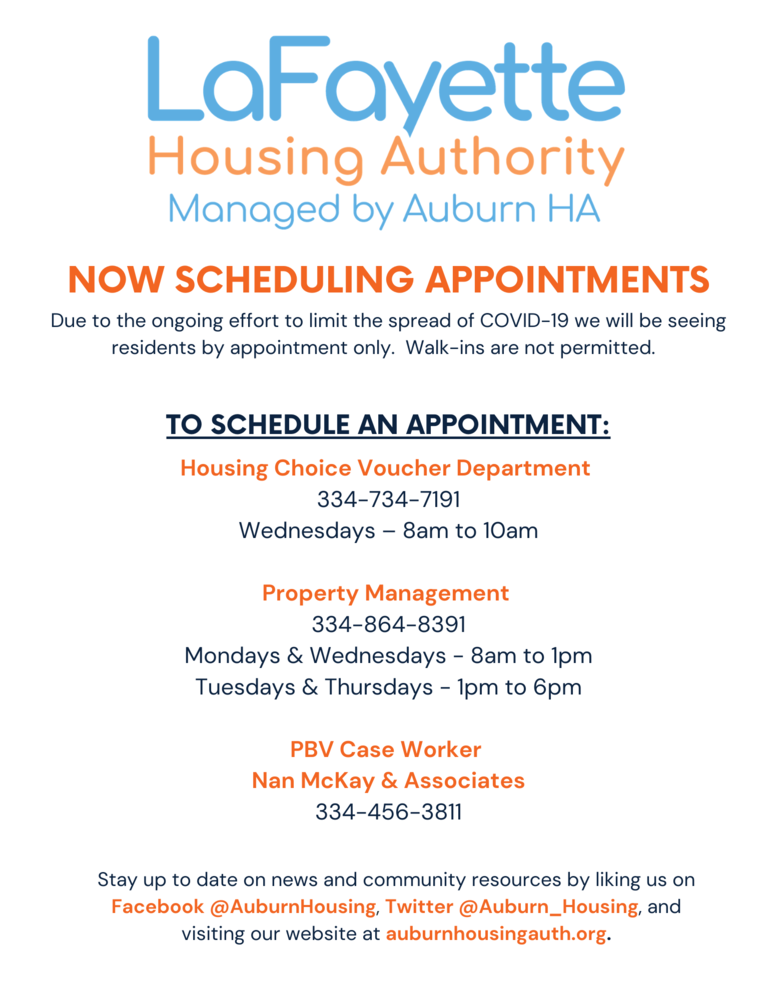 LHA Now Scheduling Appointment Information