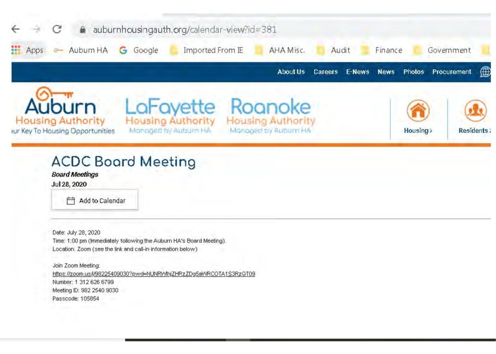 ACDC Board Meeting Calendar Event July 28, 2020 on AHA Website
