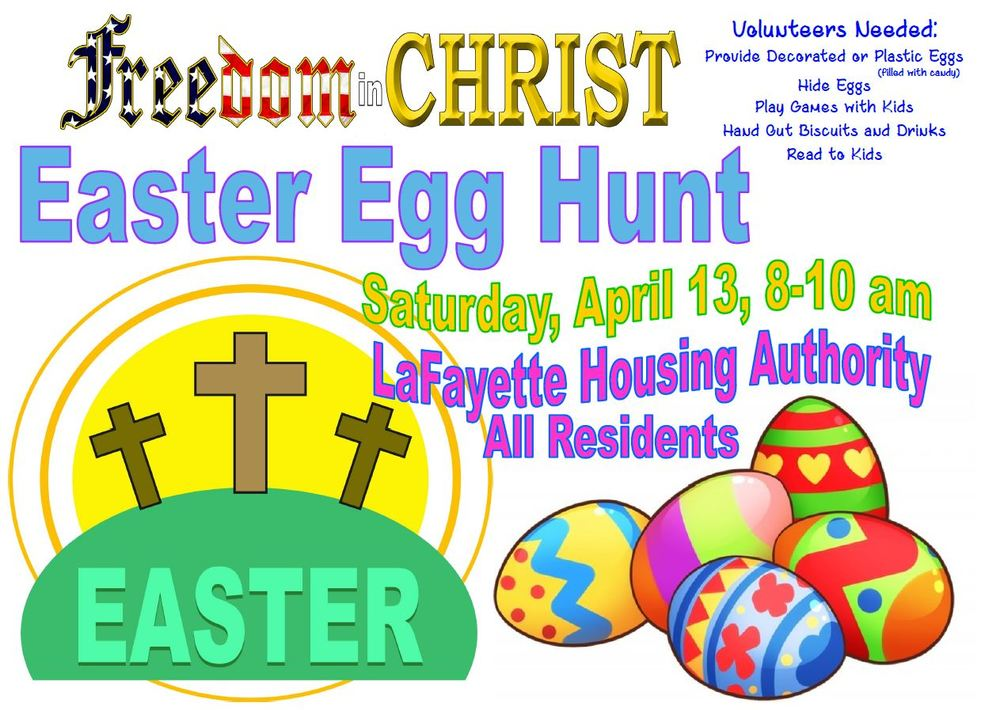 Easter Egg Hunt Flyer with crosses and easter eggs