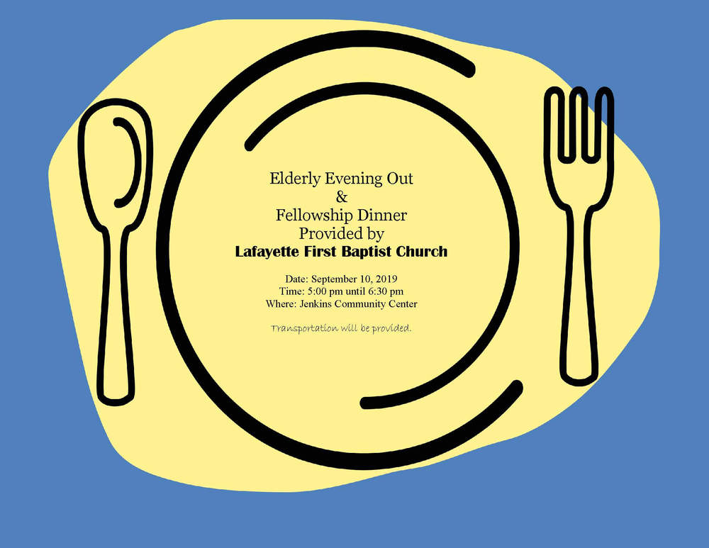 Elderly Evening Out Lafayette First Baptist flyer 09.10.19