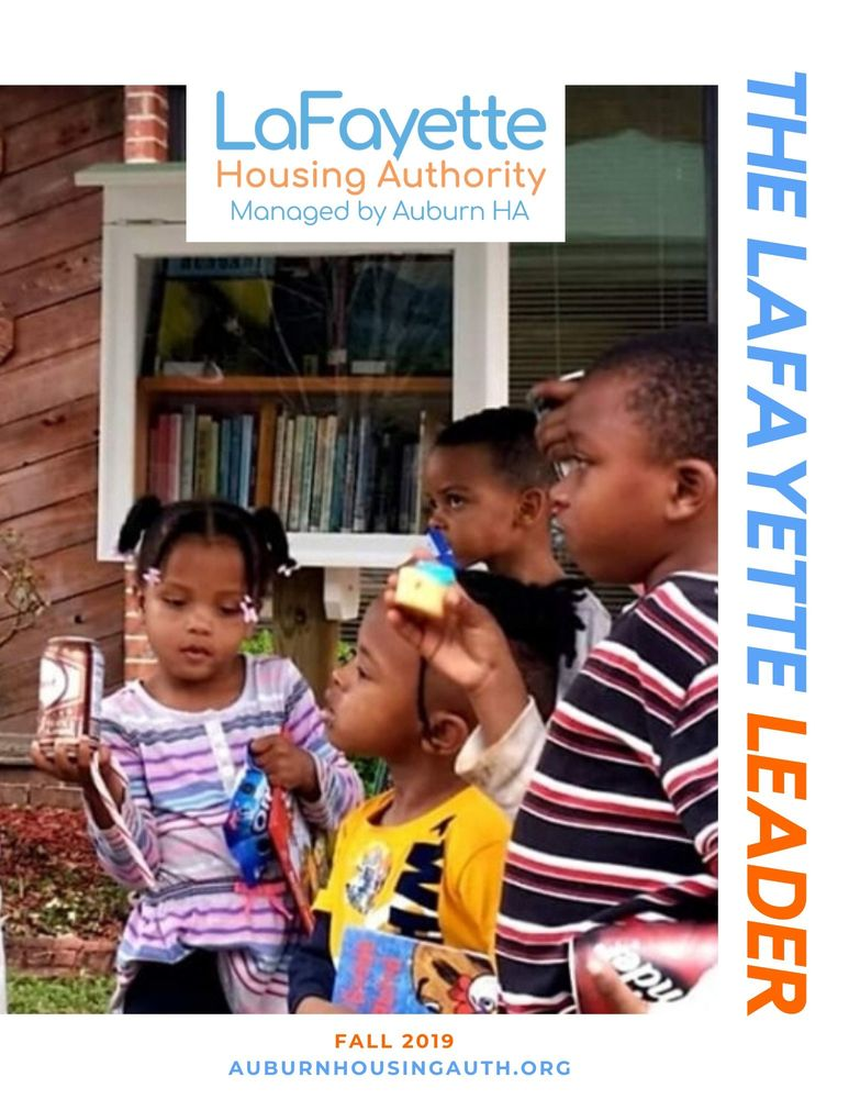 Lafayette Leader Fall Newsletter Front Page with children at the Little Free Library