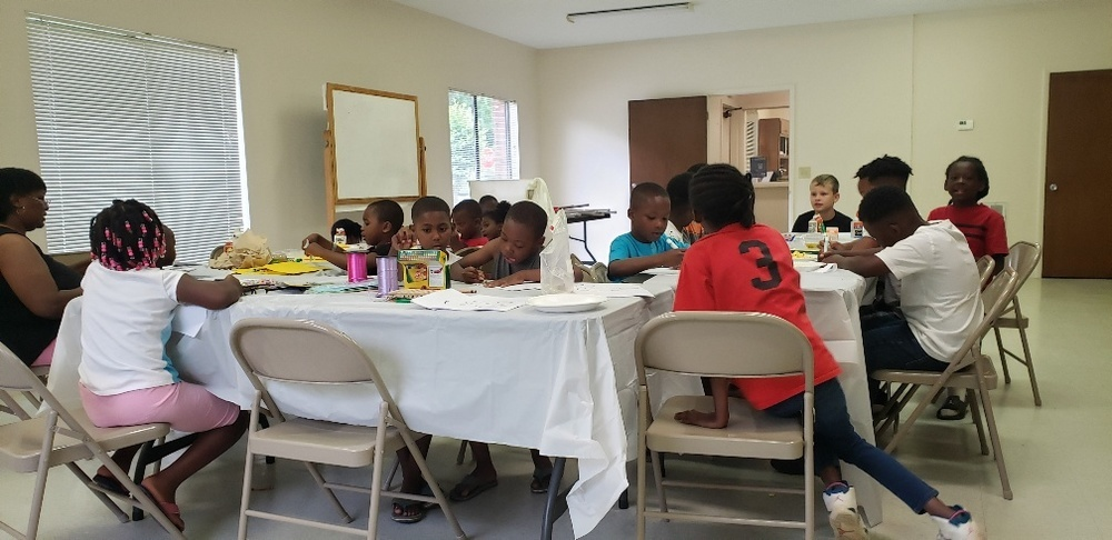 LHA youth painting and playing at summer camp