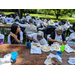 older Americans picnic, guests eating