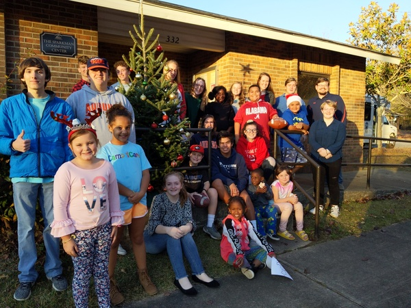 sparkman residents outside with tree